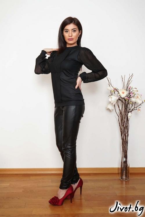 """Черна блуза със солей """"FIGO""""/Shushi"""
