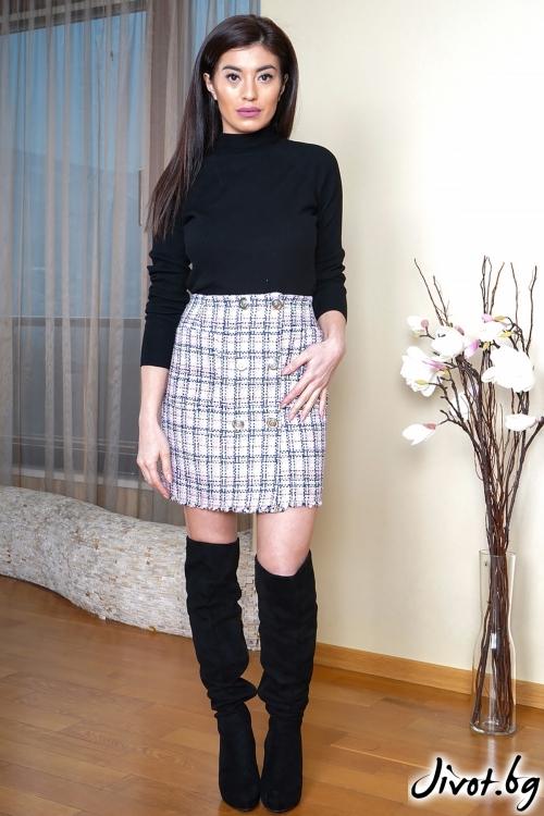 Розова пола от букле с джобчета / ShuShi
