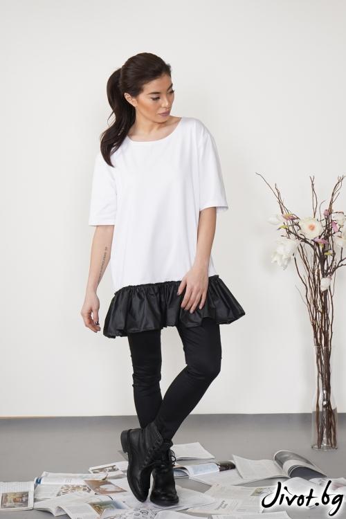 Дамска бяла тениска с черен шушляк OVERSIZE