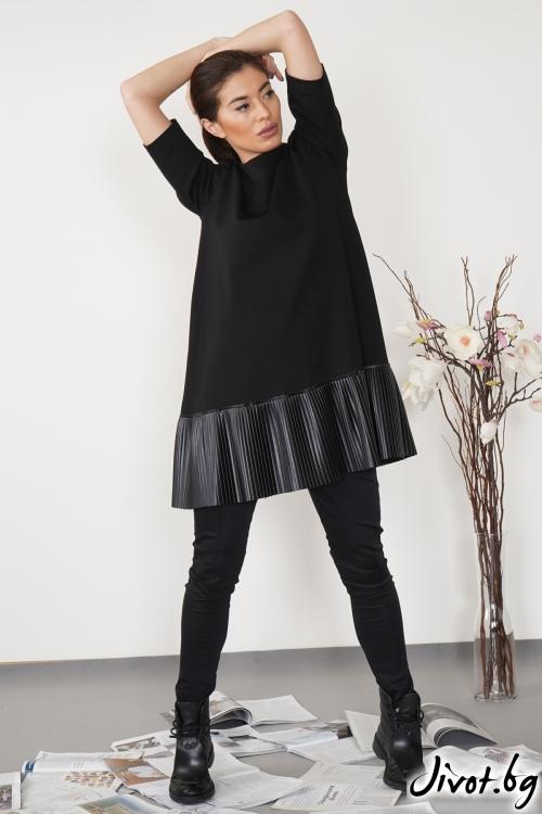 Черна къса рокля с плисиран кожен борд / Shushi