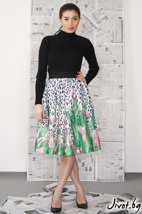 Дамска пола с нежен флорален десен / SHUSHI