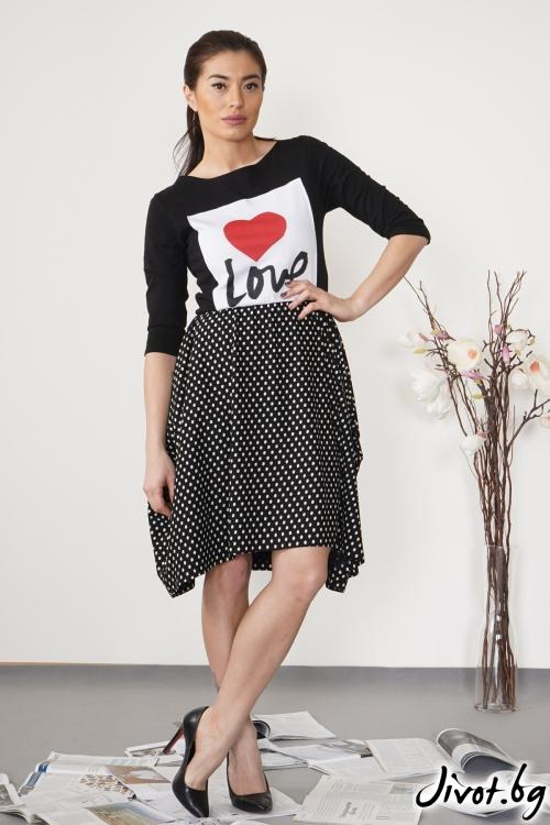 """Дамска черна рокля """"Love you""""/ VЯRA за MUSE SHOP"""