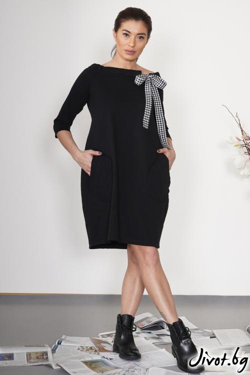 """Дамска черна рокля """"Панделка 2 """"/ VЯRA за MUSE SHOP"""
