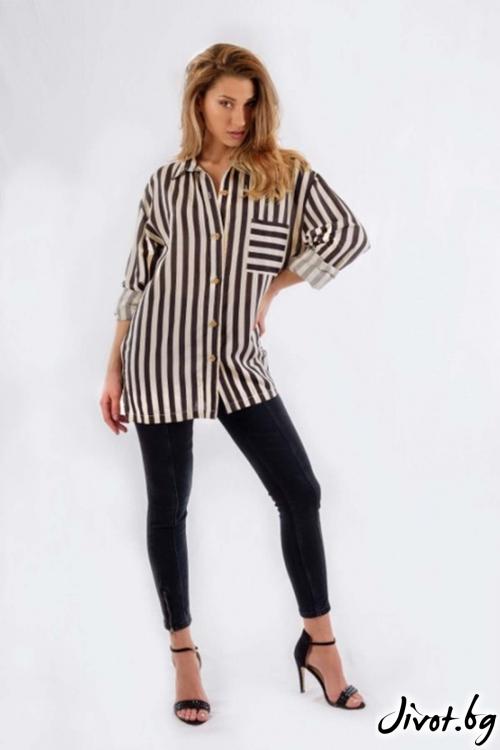Дамска риза в черно и бяло BW164 / BAZA