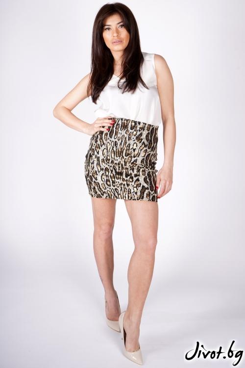 """Къса леопардова пола от пайети """"LEОS"""" / Shushi"""