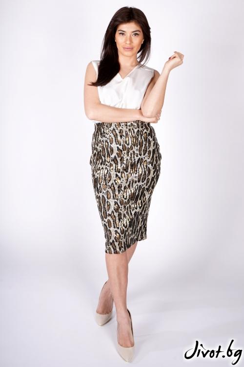 """Красива леопардова пола от пайети """"LEO"""" / Shushi"""