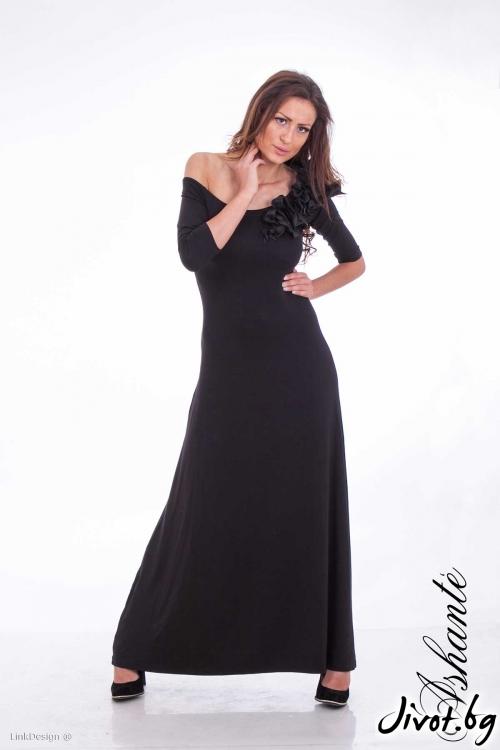 Елегантна черна дълга рокля / Ashante