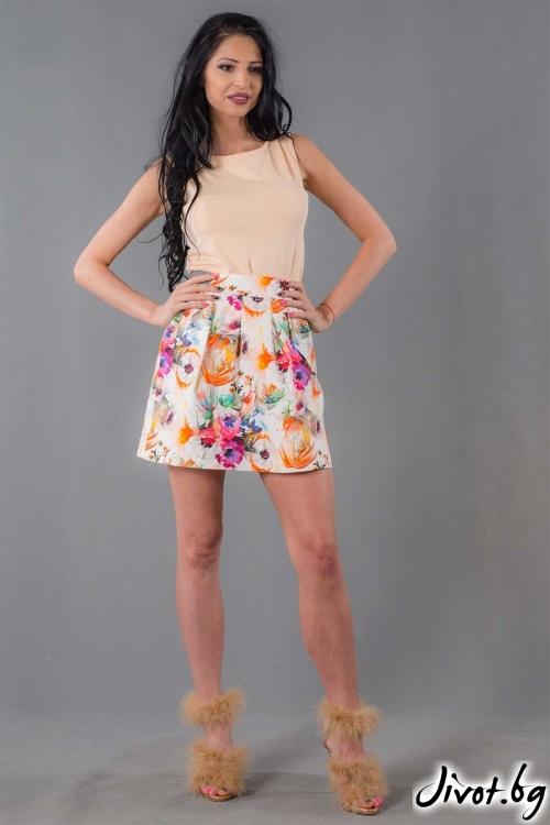 Къса пола с десен на цветя /Ashante