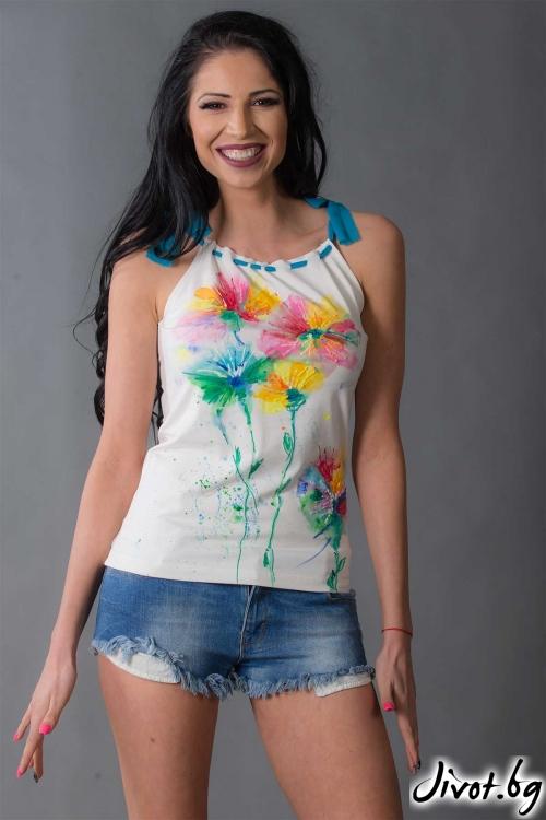 Бяла ръчно рисувана блуза /Ashante