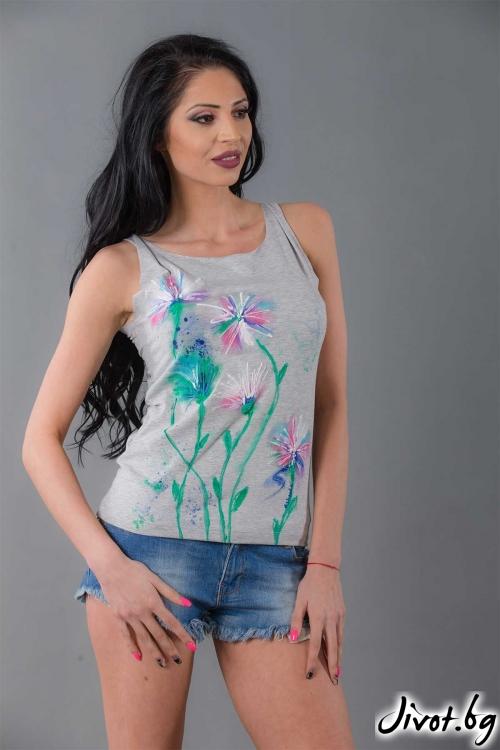 Сива ръчно рисувана блуза /Ashante