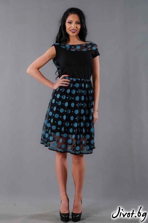 """Елегантна рокля """"Blue point"""" /Ashante"""