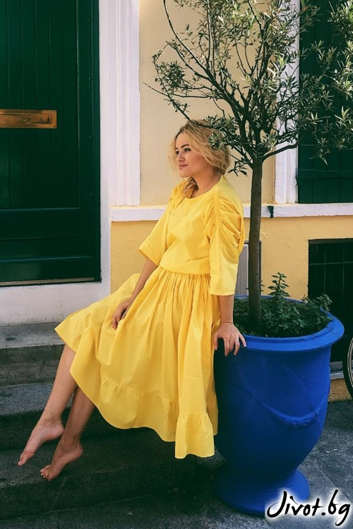 Свободна жълта рокля с волани / Miss Voila