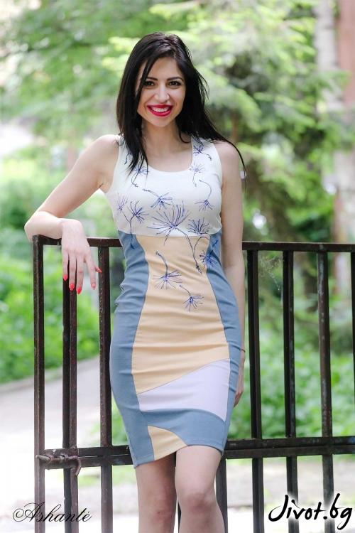 """Къса рисувана рокля """"Dandelion""""/Ashante"""