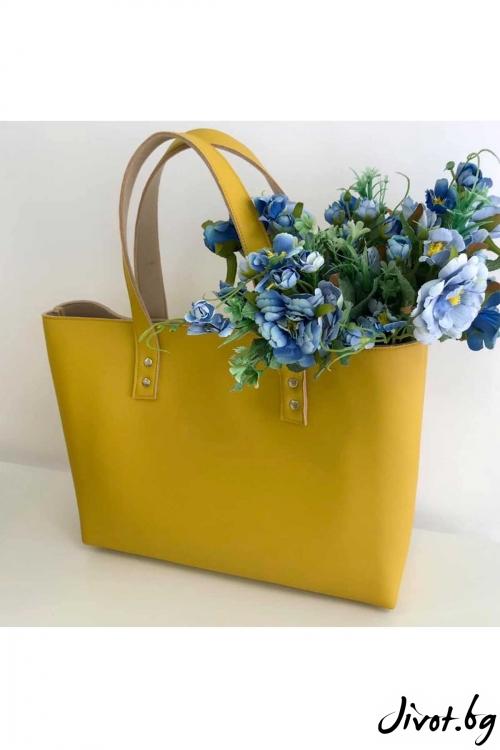 """Чанта от изкуствена кожа и филц """"Totebag"""" / EMVy"""