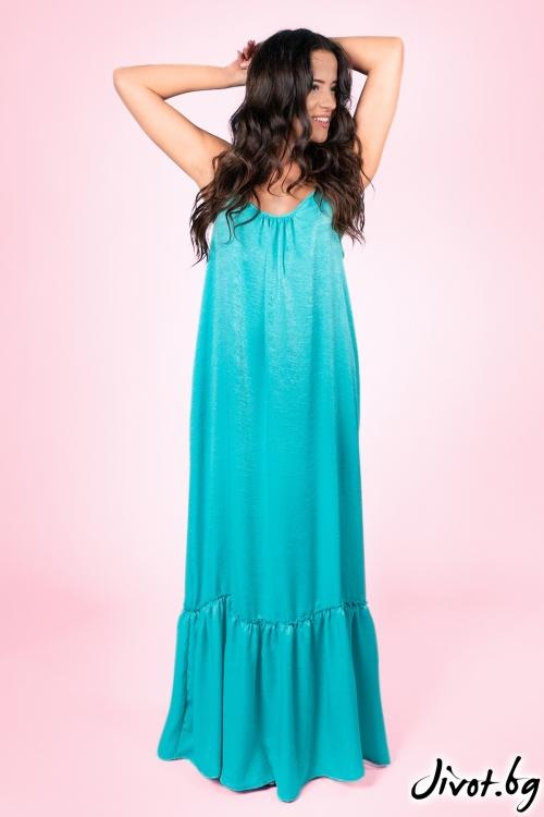 """Дълга сатенена рокля за плаж """"Чара 2"""" /Shushi"""