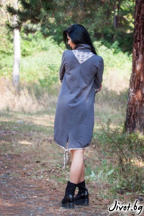 "Красива рокля тип балон ""Grey baloon"" / Ashante"